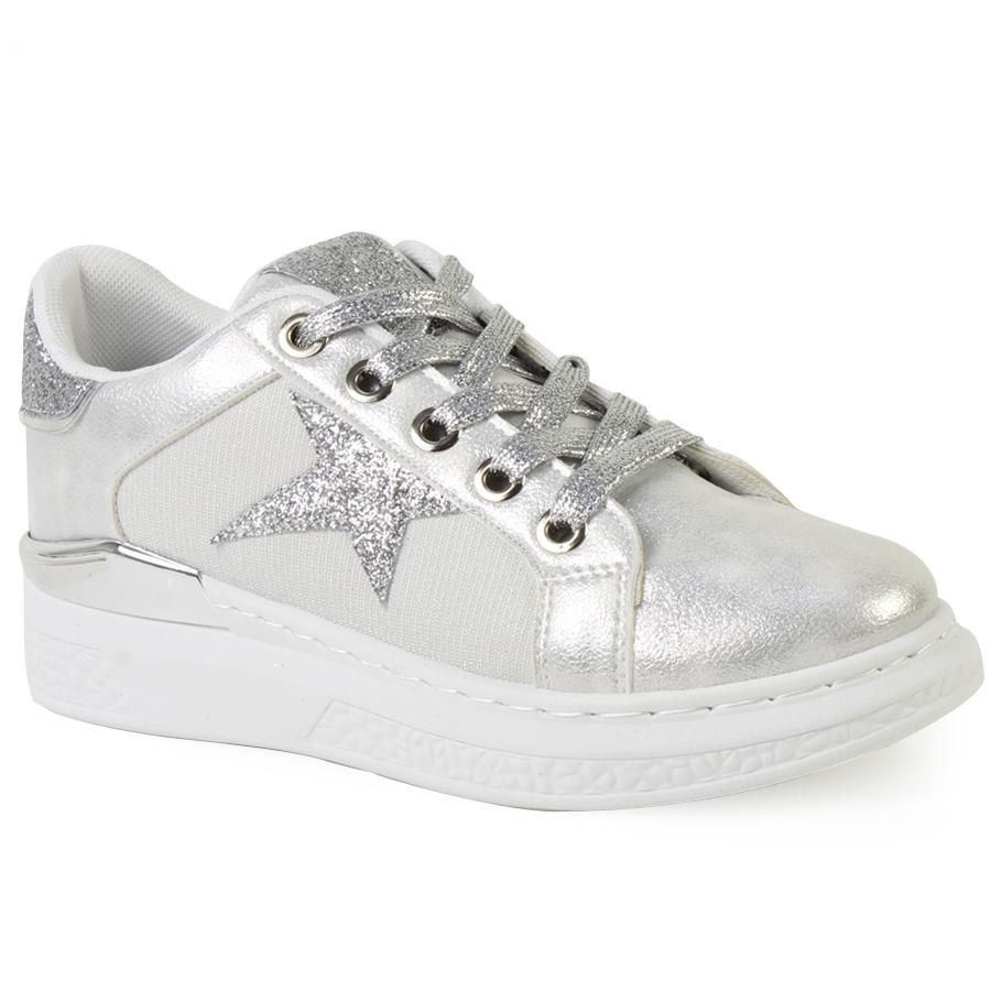 Γυναικεία sneakers με glitter λεπτομέρειες Ασημί