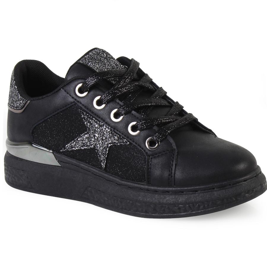 Γυναικεία sneakers με glitter λεπτομέρειες Μαύρο