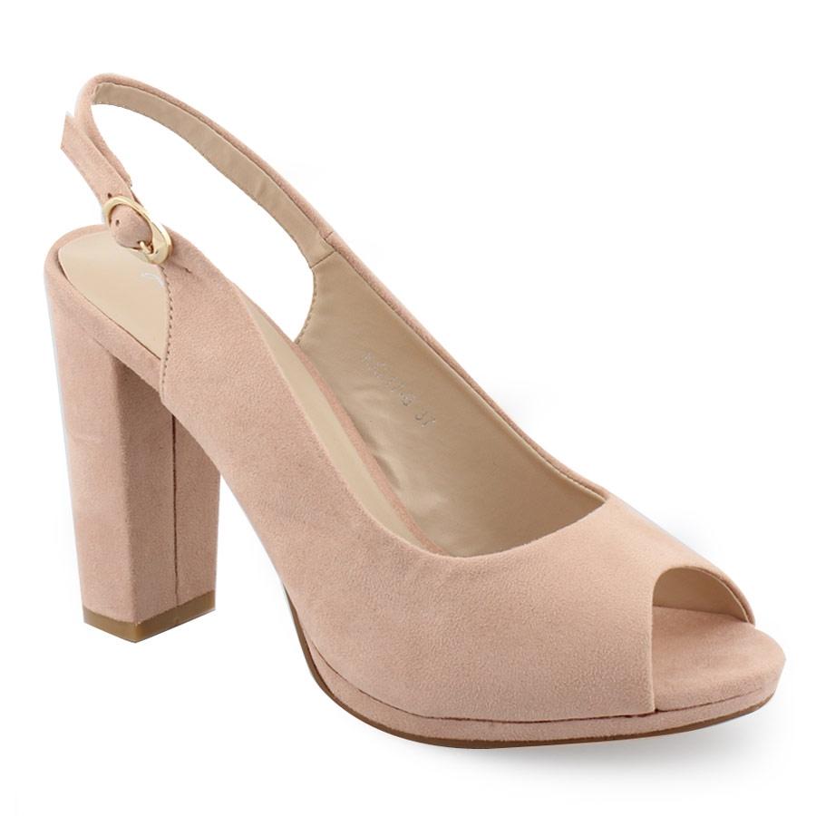Γυναικεία πέδιλα slingback με peep-toe Nude γυναικα   παπούτσια   πεδιλα