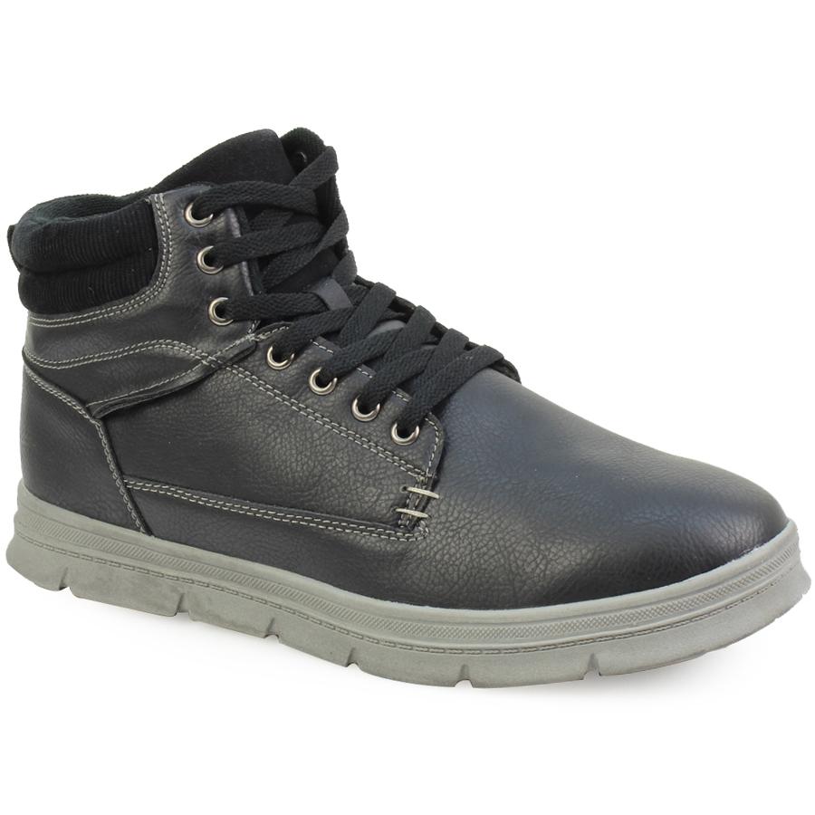 -40% Inshoes Ανδρικά μποτάκια με διακοσμητικά γαζιά και κοτλέ γιακά Μαύρο 3edbd927b0b