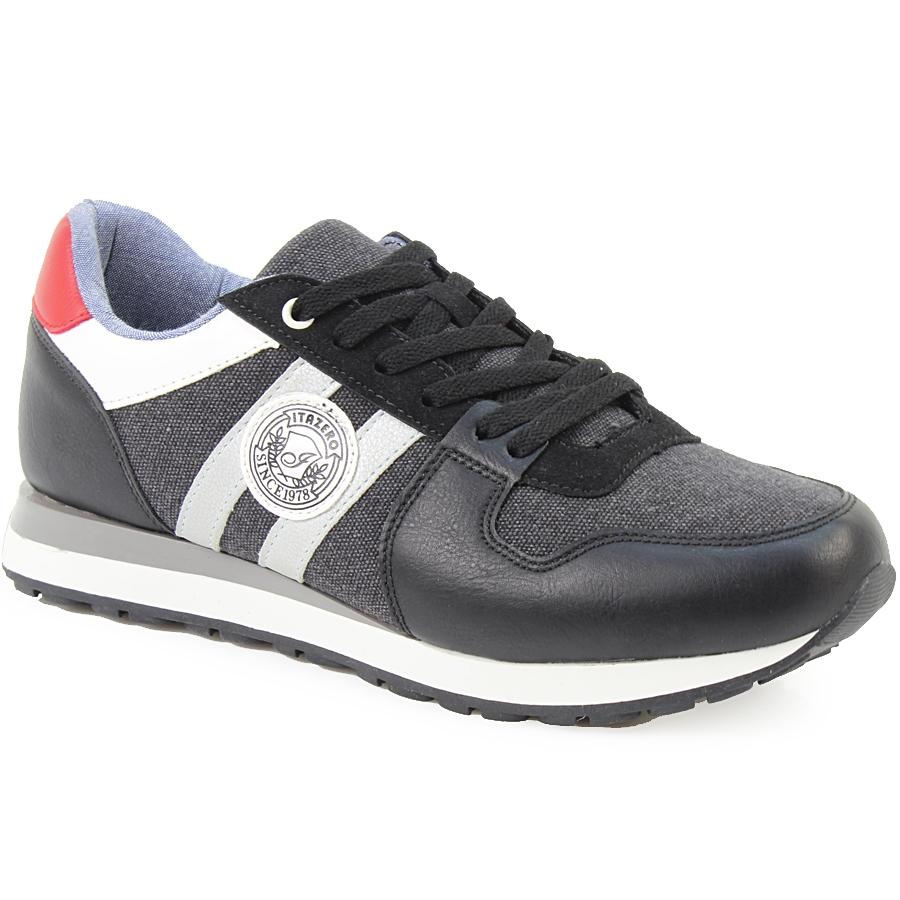 Ανδρικά sneakers με στάμπα και ρίγες Μαύρο