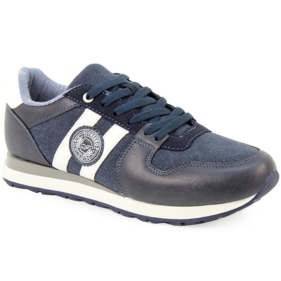 Ανδρικά sneakers με στάμπα και ρίγες Μπλε