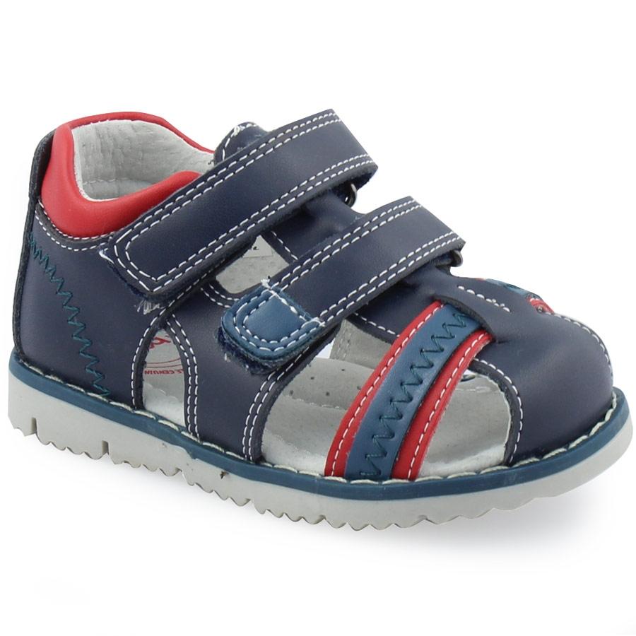 71c85a07b92 -20% Inshoes Παιδικά δερμάτινα πέδιλα ημίκλειστα με κυματιστά γαζιά Μπλε