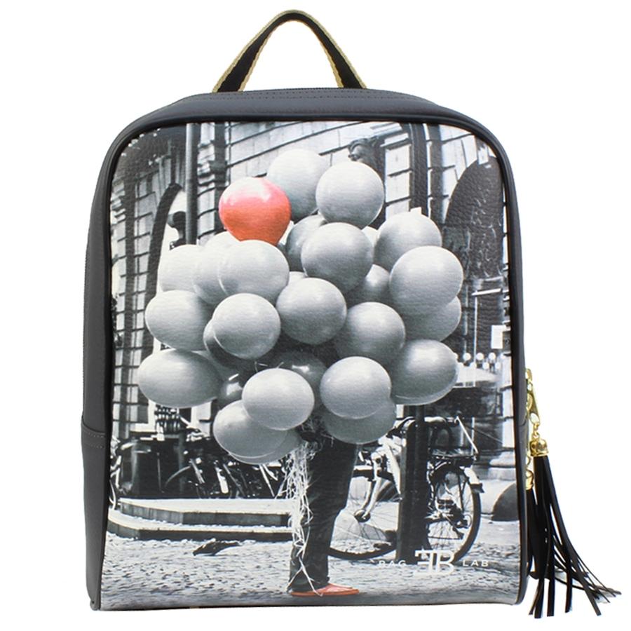 Σακίδια πλάτης με print μπαλόνια Γκρι