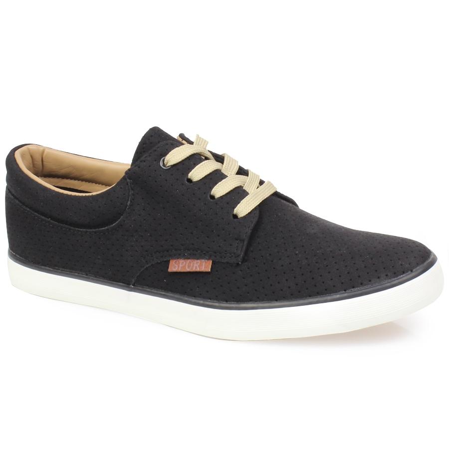 Ανδρικά sneakers με περφορέ μοτίβο Μαύρο