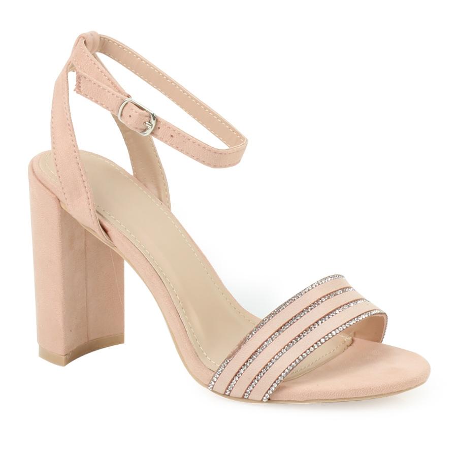 Παπούτσια Γυναικεία πέδιλα με ρίγες από strass Ροζ - Observatory.gr aa6ae5cb115