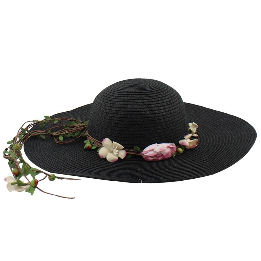 Καπέλα με διακοσμητικά λουλούδια Μαύρο