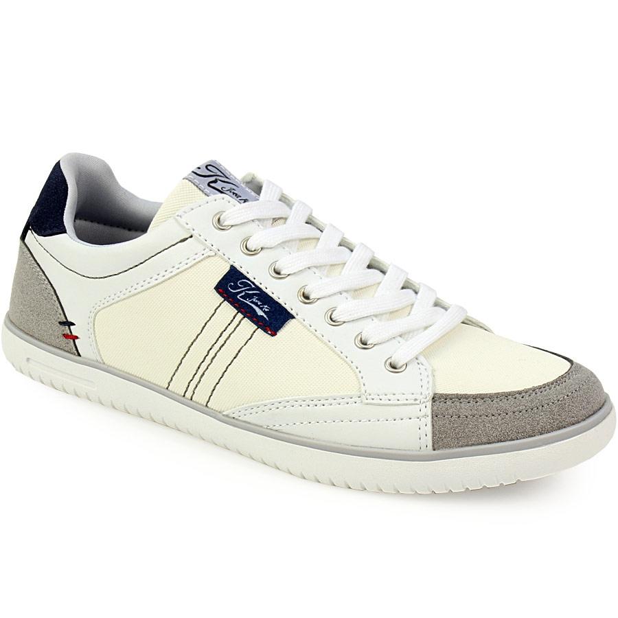 Ανδρικά sneakers δίχρωμα με γαζιά Λευκό