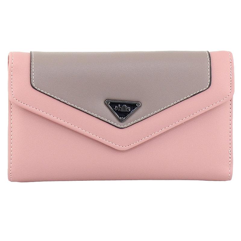 Πορτοφόλια δίχρωμα με μεταλλική λεπτομέρεια Ροζ