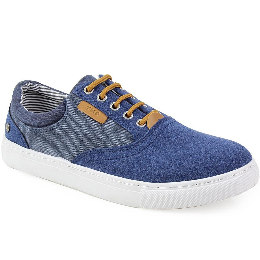 Ανδρικά sneaker με τζιν λεπτομέρεια και λευκή σόλα Μπλε
