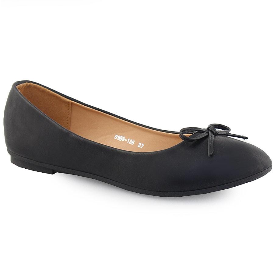 83058f6b23f2 Γυναικείες μπαλαρίνες μονόχρωμες με φιογκάκι Μαύρο ⋆ EliteShoes.gr