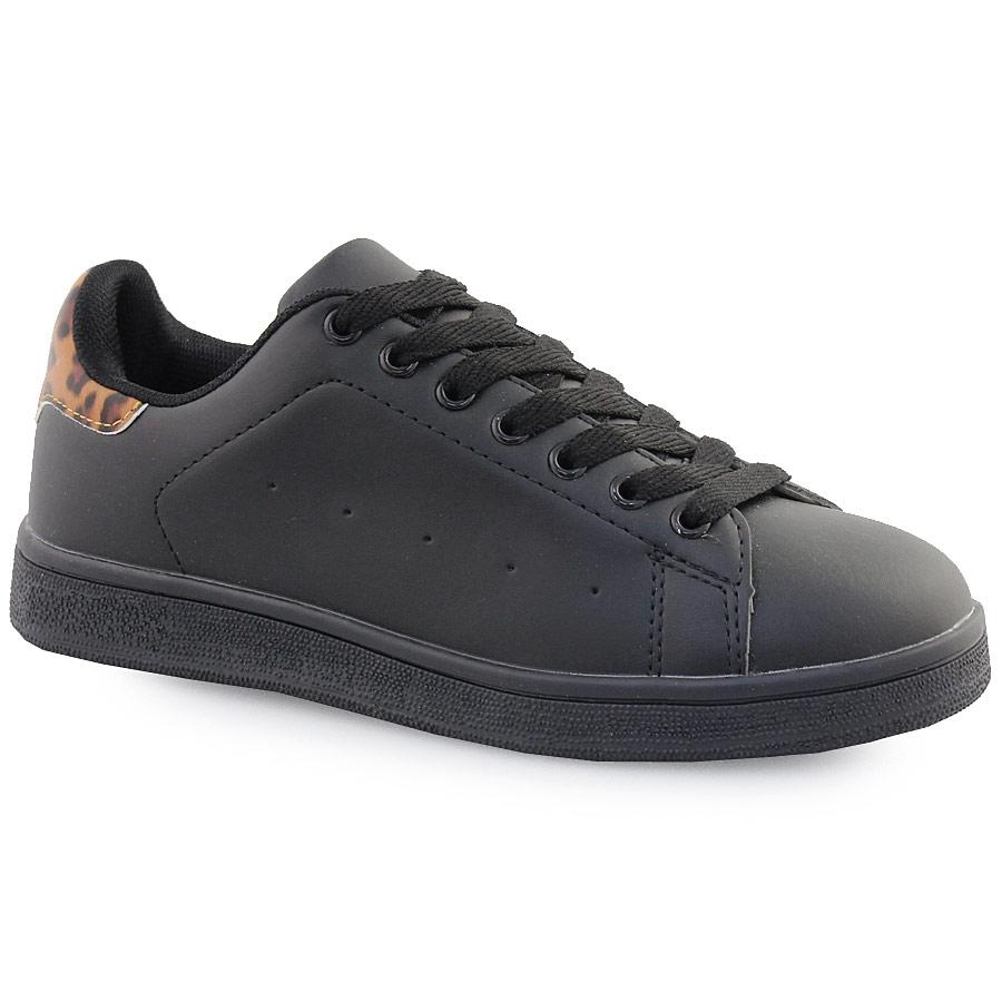 Γυναικεία sneakers με λεοπάρ λεπτομέρειες Μαύρο