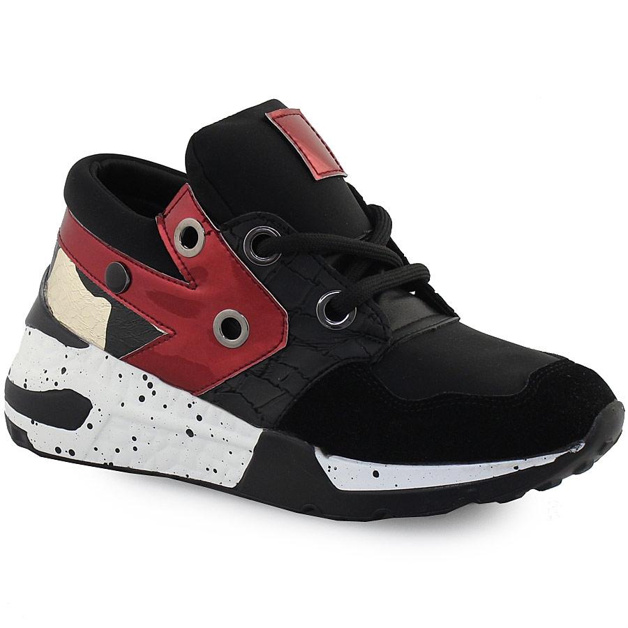 Γυναικεία sneakers πολύχρωμα με μεταλιζέ λεπτομέρεια Μαύρο
