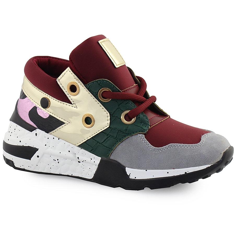 Γυναικεία sneakers πολύχρωμα με μεταλιζέ λεπτομέρεια Μπορντώ