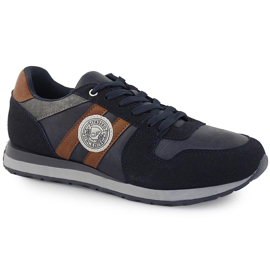 Ανδρικά sneakers με διπλή λωρίδα στο πλάι Μπλε