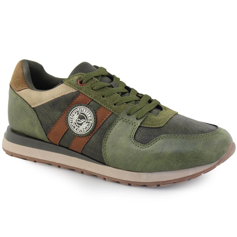 Ανδρικά sneakers με διπλή λωρίδα στο πλάι Χακί