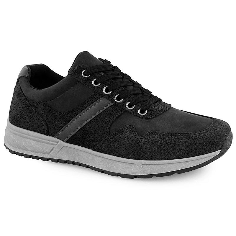 Ανδρικά sneakers με γκρι λεπτομέρεια Μαύρο