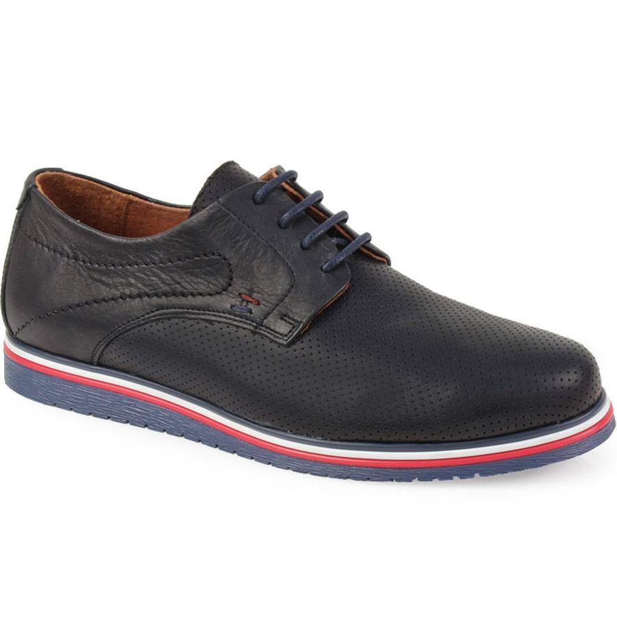Ανδρικά loafers δερμάτινα περφορέ Μαύρο