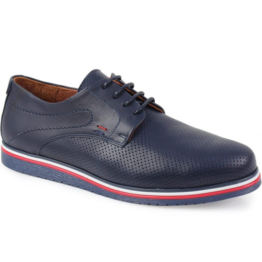Ανδρικά loafers δερμάτινα με περφορέ σχέδιο Μπλε