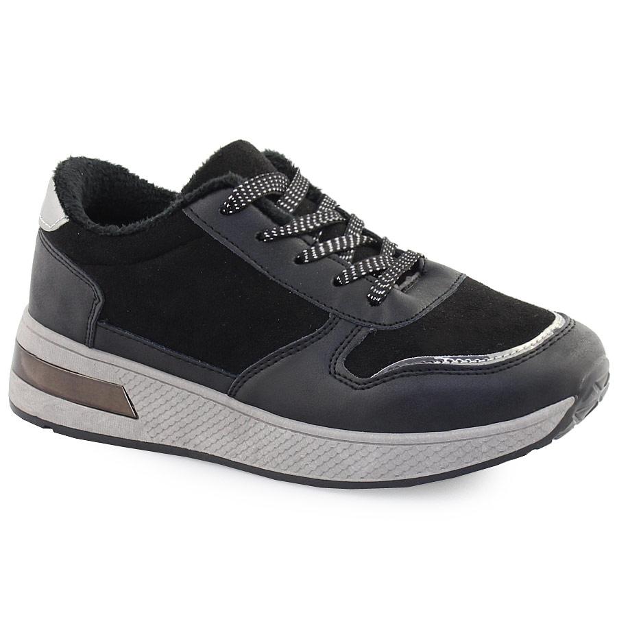 Γυναικεία sneakers με μεταλιζέ λεπρομέρειες Μαύρο