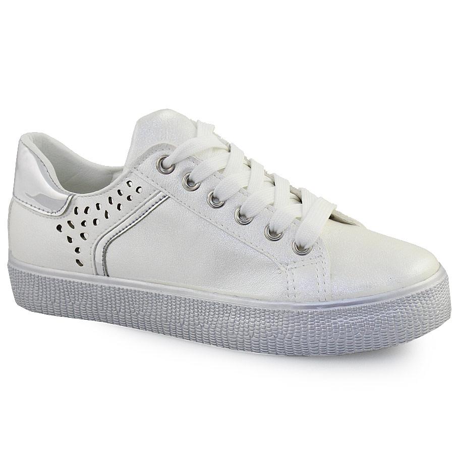 Γυναικεία sneakers με glitter και περφορέ σχέδιο Λευκό