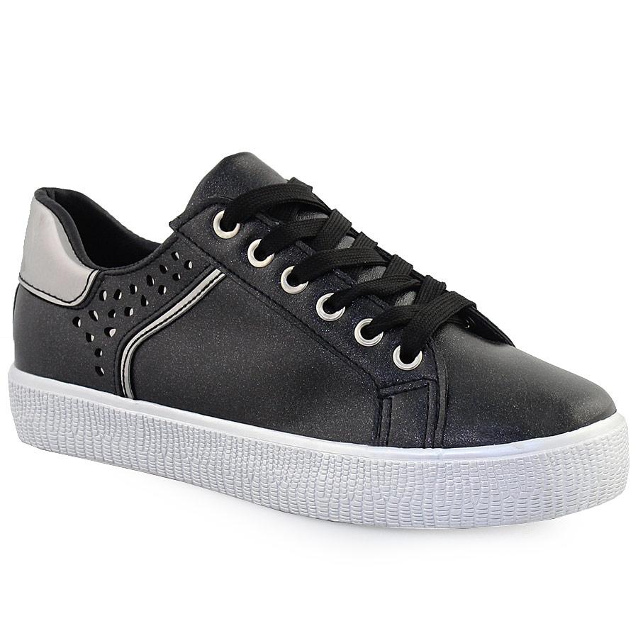 Γυναικεία sneakers με glitter και περφορέ σχέδιο Μαύρο