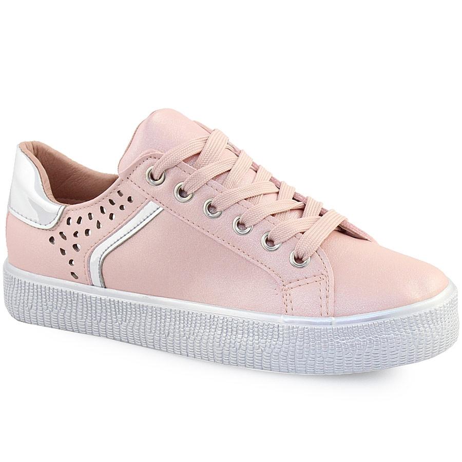 Γυναικεία sneakers με glitter και περφορέ σχέδιο Ροζ