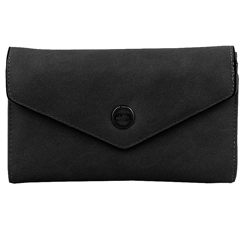 Πορτοφόλια με τριγωνικό καπάκι και στρογγυλό διακοσμητικό Μαύρο