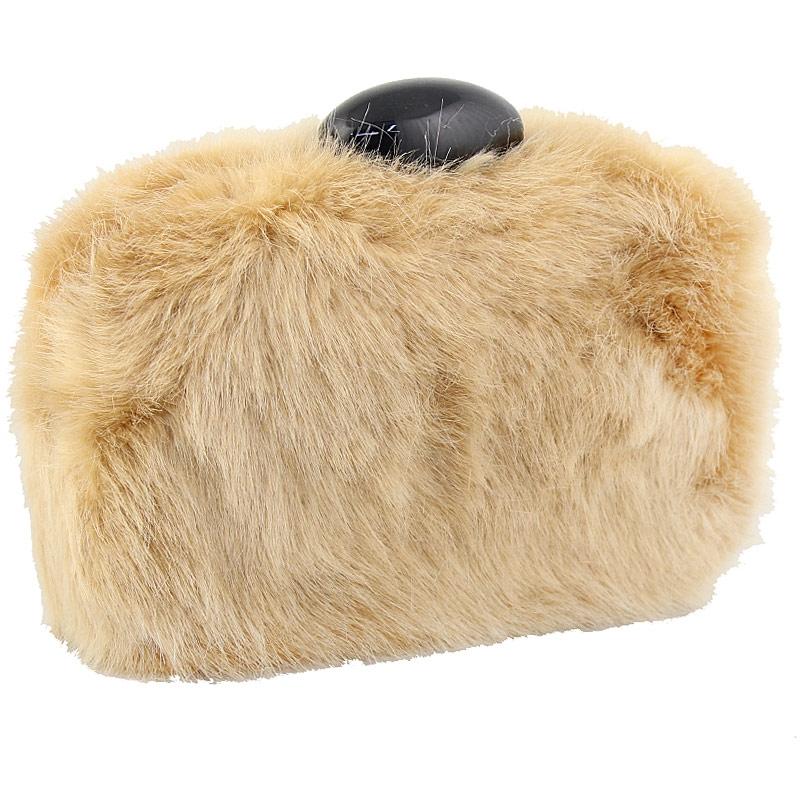 Γυναικείοι φάκελοι clutch γούνινοι με χειρολαβή Μπεζ γυναικα   τσάντες   clutch