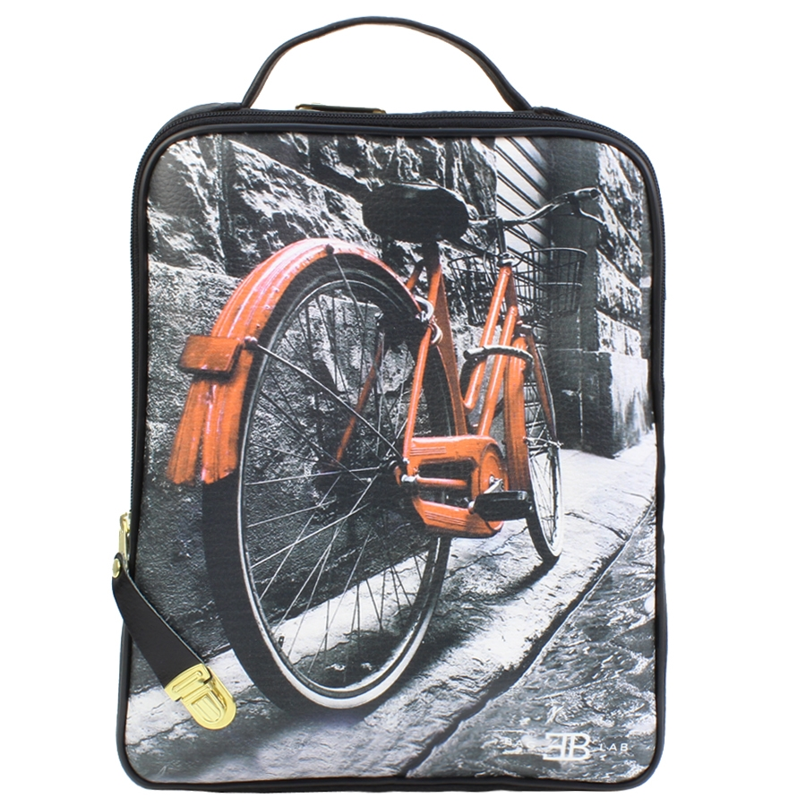 Σακίδια πλάτης με print κόκκινο ποδήλατο Μαύρο