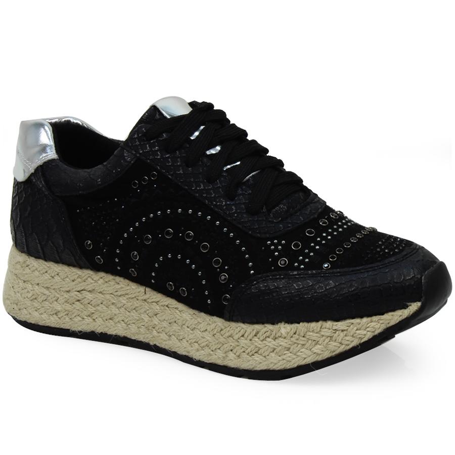 Γυναικεία sneakers με strass και εσπαντρίγια Μαύρο