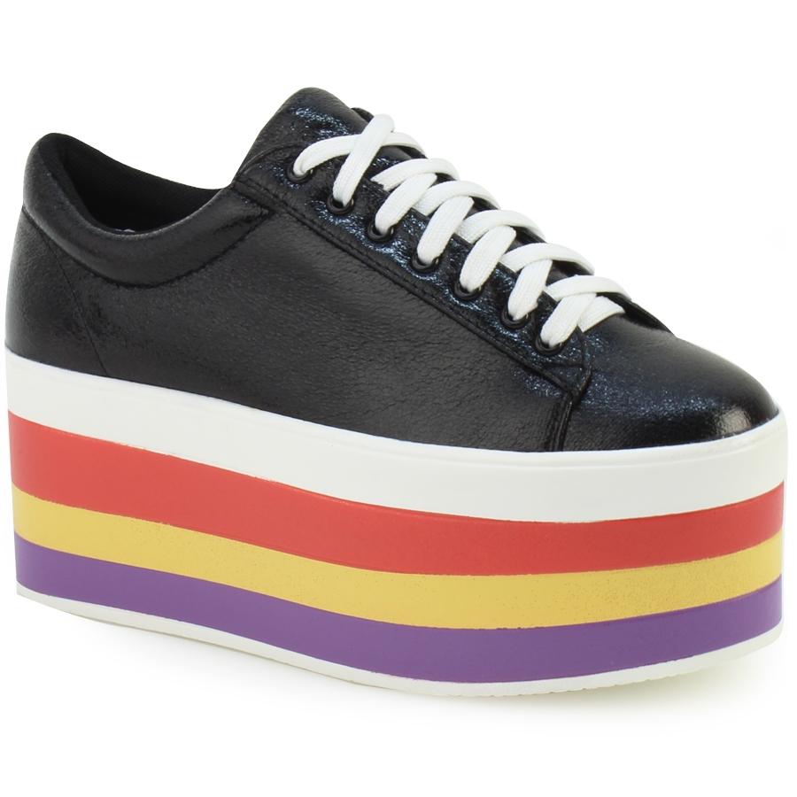 Γυναικεία sneakers με πολύχρωμη σόλα Μαύρο