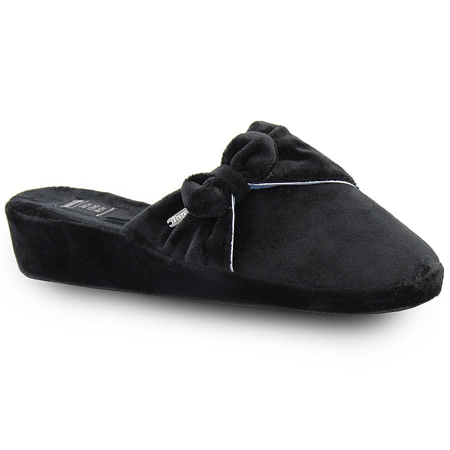 Γυναικείες παντόφλες βελούδινες με φιόγκο Μαύρο