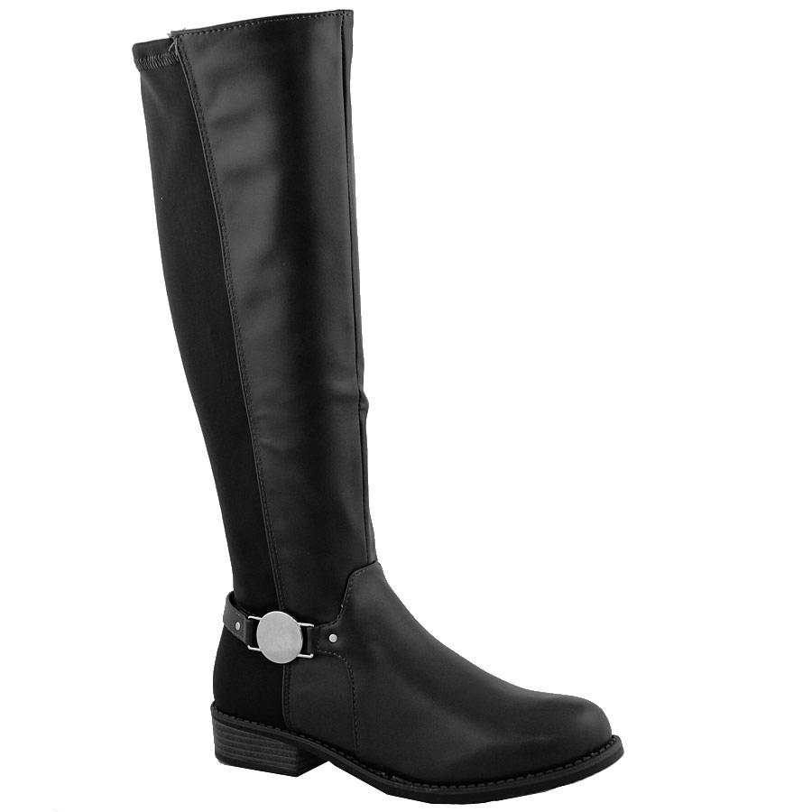 Γυναικείες μπότες με πλαϊνό στρογγυλό διακοσμητικό Μαύρο