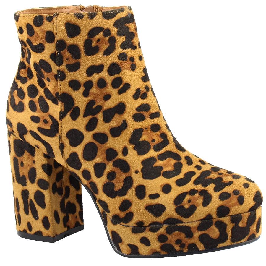 -50% Inshoes Γυναικεία μποτάκια με χοντρό τακούνι και εξωτερική ραφή Λεοπάρ befde39acb6