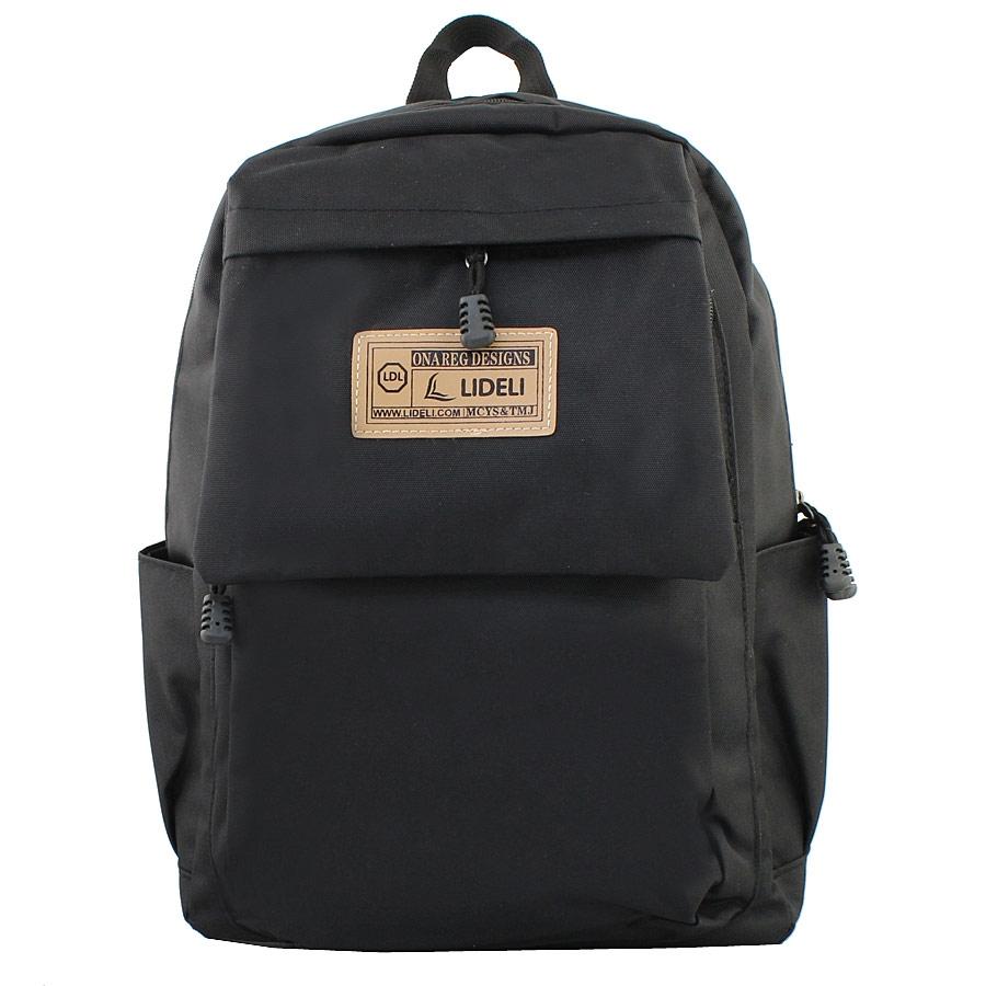 Ανδρικά σακίδια πλάτης με εξωτερικές τσέπες και τύπωμα Μαύρο