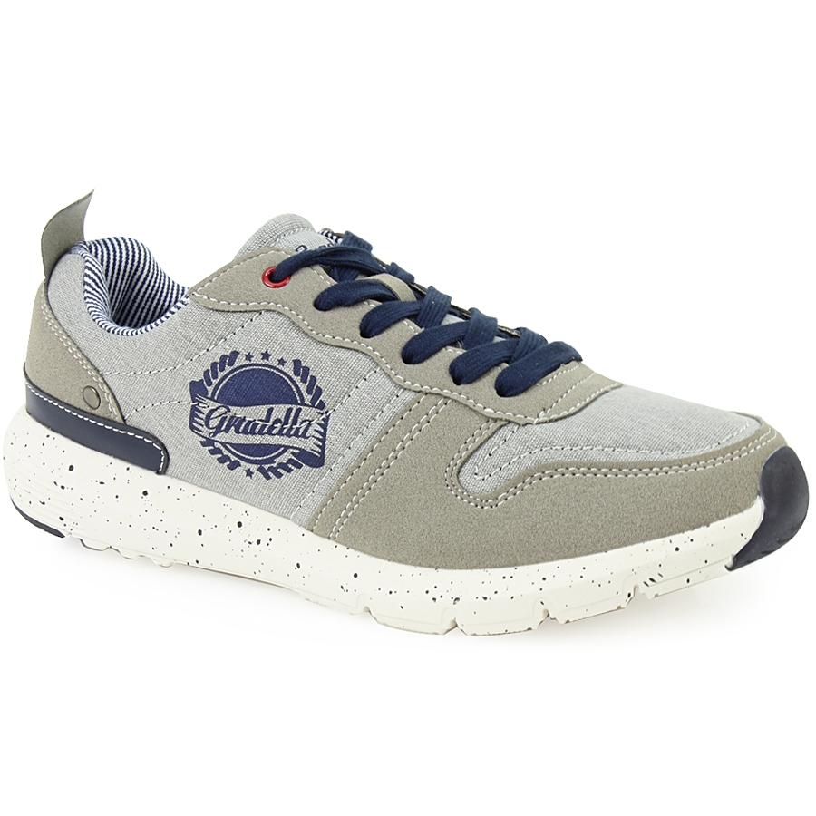 Ανδρικά sneakers με στάμπα και πιτσιλωτή σόλα Γκρι