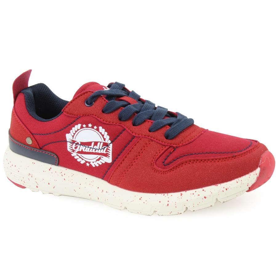 Ανδρικά sneakers με στάμπα και πιτσιλωτή σόλα Κόκκινο