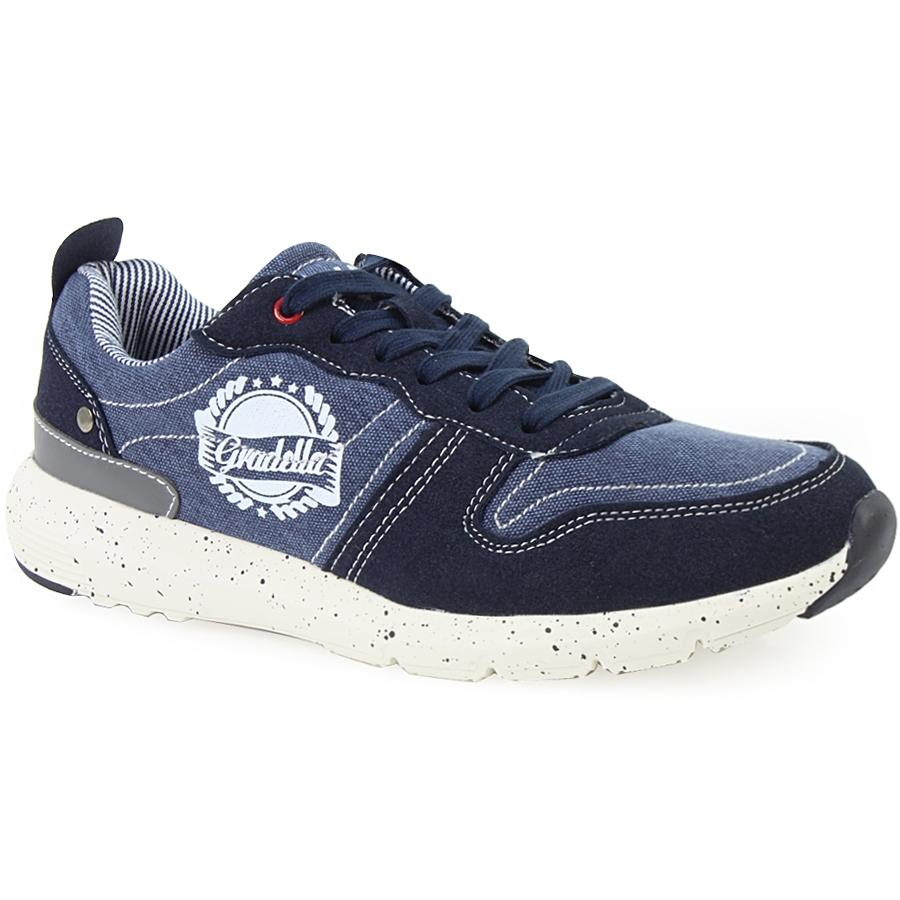 Ανδρικά sneakers με στάμπα και πιτσιλωτή σόλα Μπλε