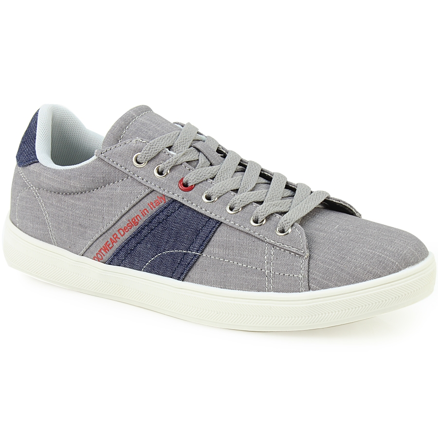 Ανδρικά sneakers με τζιν ύφασμα και λευκή σόλα Γκρι