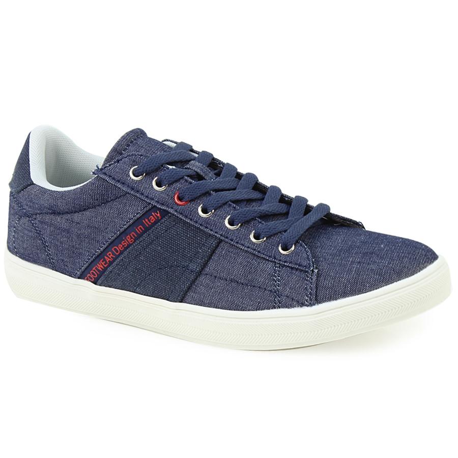 Ανδρικά sneakers με τζιν ύφασμα και λευκή σόλα Μπλε