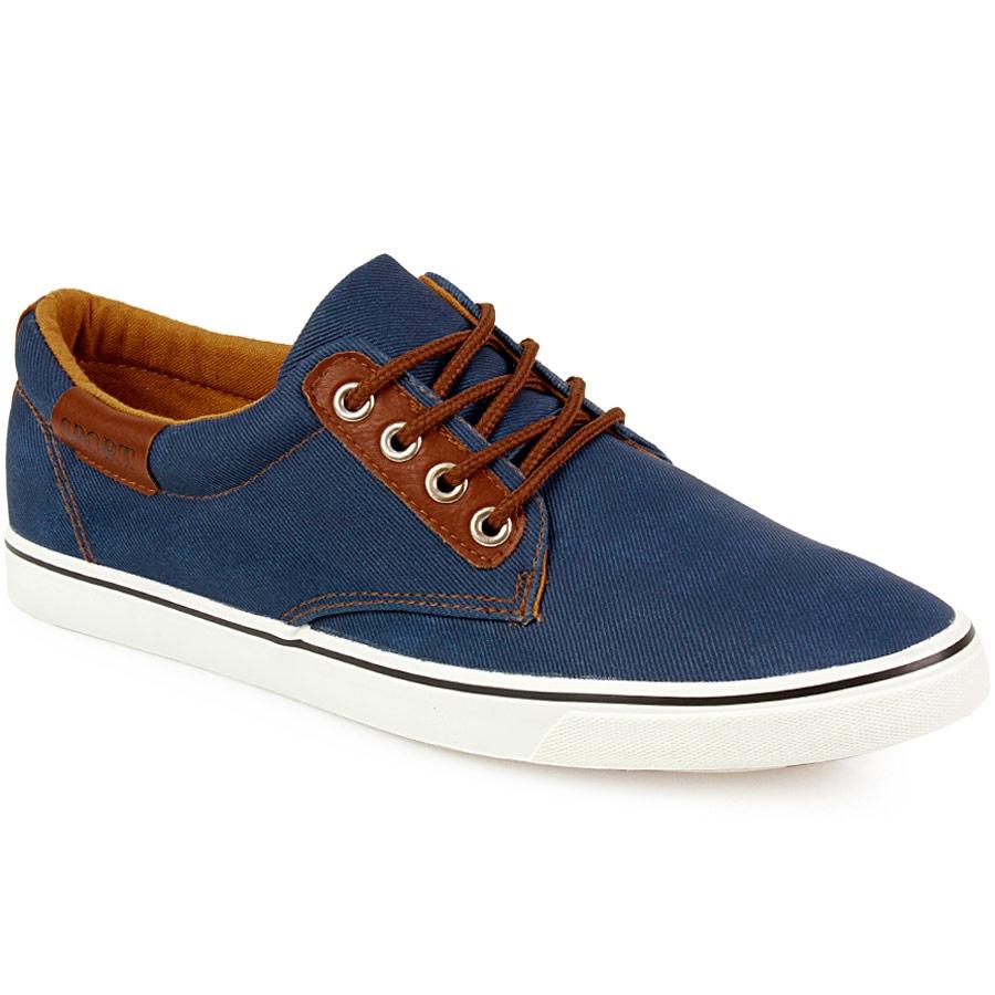 Ανδρικά sneakers δίχρωμα με κορδόνια Μπλε