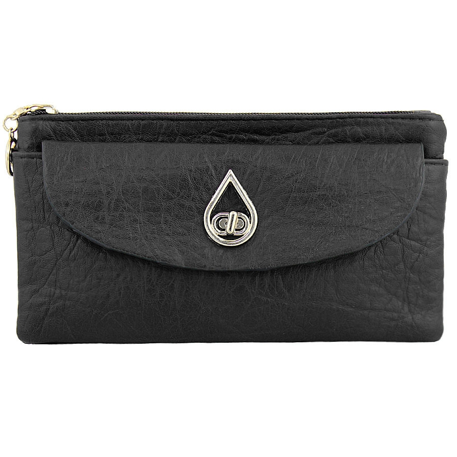 Πορτοφόλια με μεταλλικό σχέδιο και εξωτερικές τσέπες Μαύρο