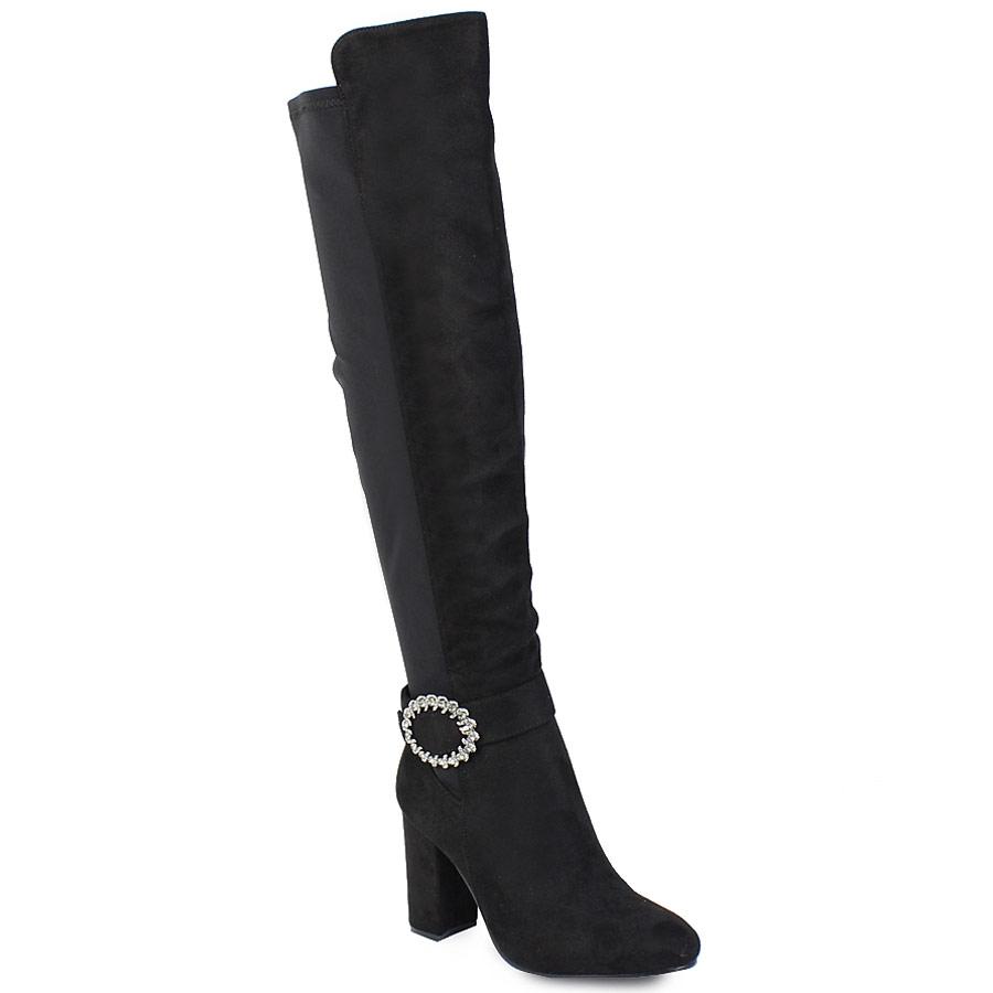 Γυναικείες μπότες με στρογγυλή αγκράφα με strass Μαύρο