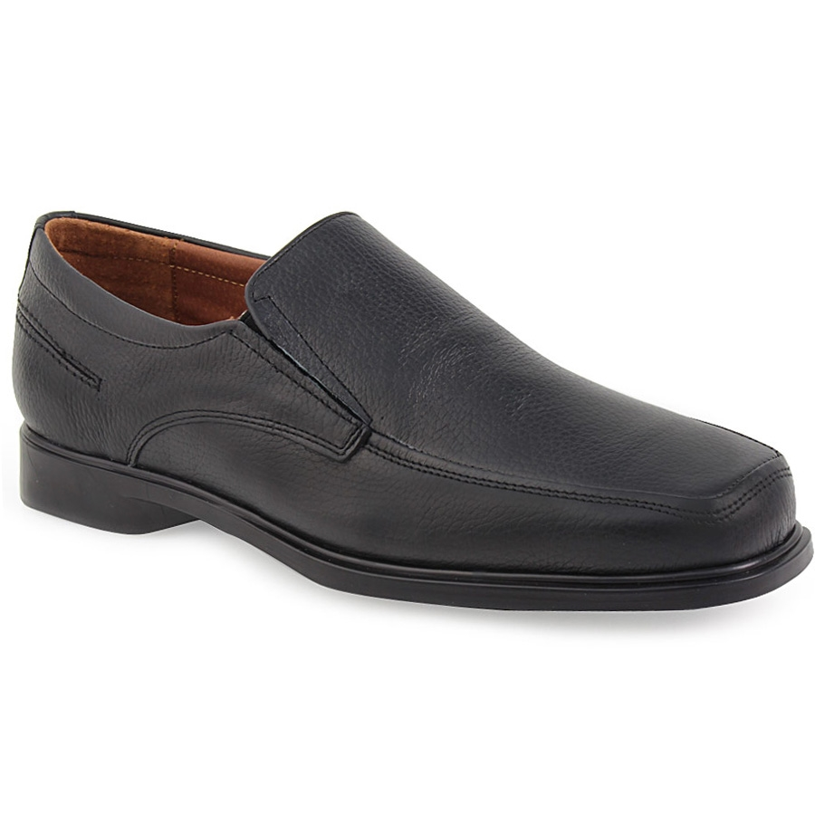 Ανδρικά loafers δερμάτινα σε απλή γραμμή Μαύρο