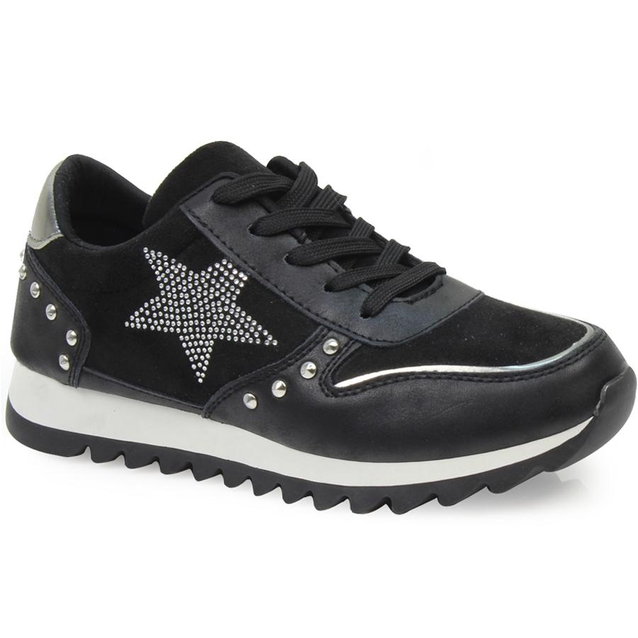 Γυναικεία sneakers με διακοσμητικό αστέρι και stubs Μαύρο