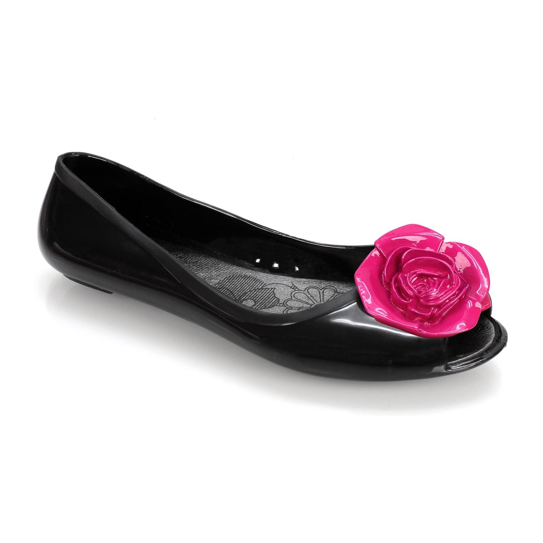 Γυναικείες μπαλαρίνες τζελ με τριαντάφυλλο Μαύρο