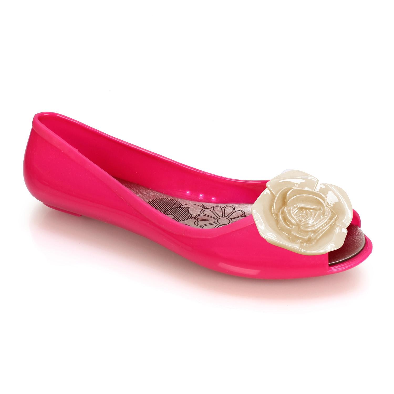 Γυναικείες μπαλαρίνες τζελ με τριαντάφυλλο Φούξια
