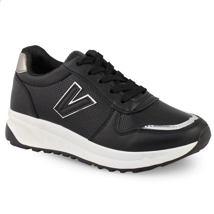 Γυναικεία sneakers με μεταλιζέ λεπτομέρεια Μαύρο