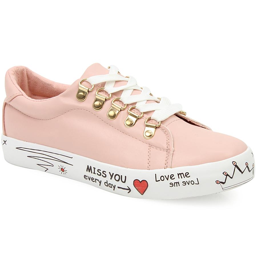Γυναικεία sneakers με σχέδια στη σόλα Ροζ